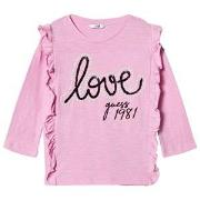 Guess Frill Front Love Guess T-shirt Rosa 7 years