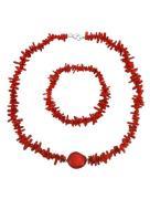 Halsband, armband röd