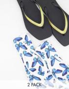 Truffle Collection – Svarta och vita flip flops med fyrkantig tå, 2-pa...