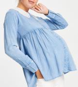 Violet Romance – Mammakläder – Skjorta i Chambray-tyg med peplumkant o...
